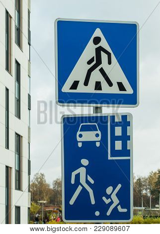 Road Signs In A Residential Area: Residential Area, Pedestrian Crossing