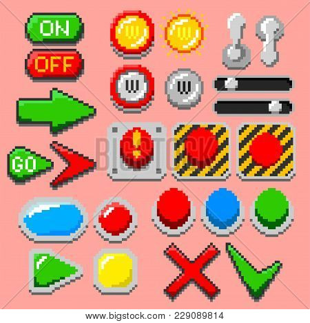 Pixel Art Arrows, Buttons, Pilot Lights, Pointers, Game Elements, Navigation Icons, Notification Lig
