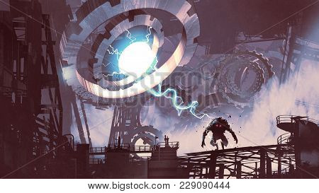 Sci-fi Scene Of The Giant Machine With Blue Light Creating A Monster In Old Factory, Digital Art Sty