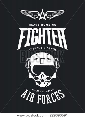 Vintage Fighter Pilot Helmet Vector Logo Isolated On Dark Background. Premium Quality Air Force Logo