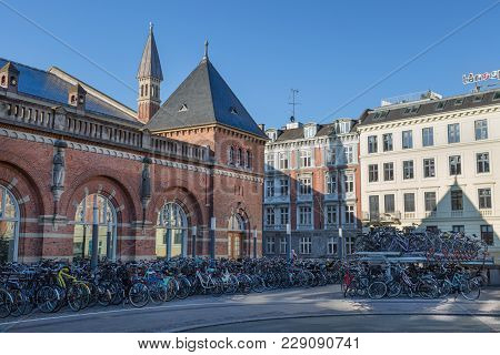 Copenhagen, Denmark - April 30, 2017: One And Two Level Bicycle Parking Lot With Bicycles At The Cen