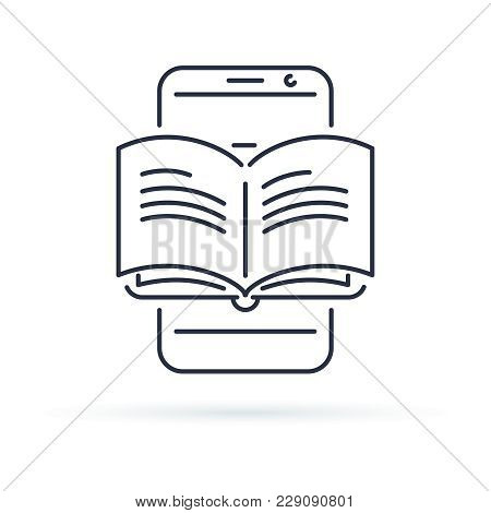 Educational Mobile App Concept, Hand Finger Touching App Smartphone Button, Opened Book, Vector Line