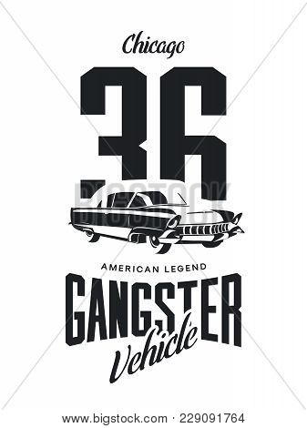 Vintage Gangster Vehicle Vector Logo Isolated On White Background. Premium Quality Classic Car Logot