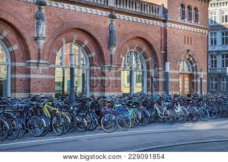 Copenhagen, Denmark - April 30, 2017: Bicycle Parking Lot With Bicycles At The Central Railway Stati