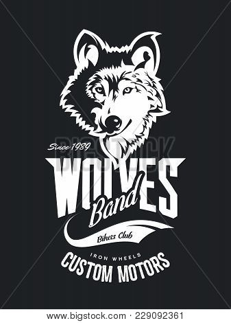 Vintage Wolf Custom Motors Club T-shirt Vector Logo On Dark Background. Premium Quality Bikers Band
