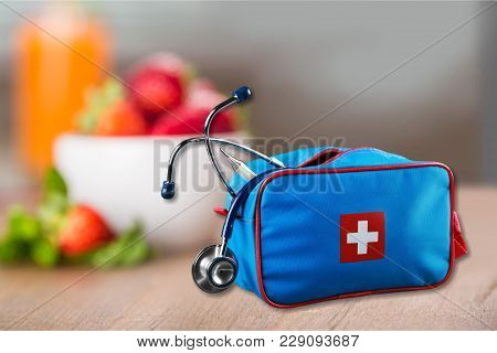 First Aid First Aid Kit White Background Healthcare And Medicine Still Life Medical Equipment Health