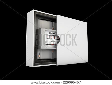 3d Illustration Of Electric Meter In The Box, Isolated On Black Background.