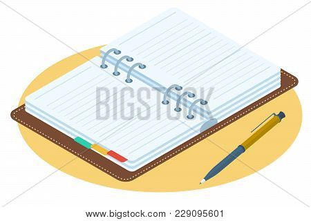 Flat Isometric Illustration Of Opened Planner. Business Workplace Personal Accessory, Supply Isolate