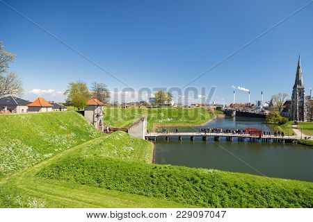 Copenhagen, Denmark - April 30, 2017: View From The Kastellet Fortress On The King's Gate, Bridge, M