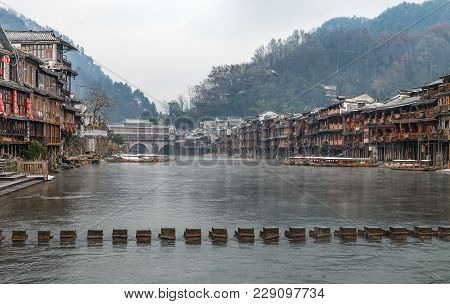 Fenghuang, Hunan, China - January 25, 2018: Unidentified Tourists At The Old Town Of Phoenix (fenghu