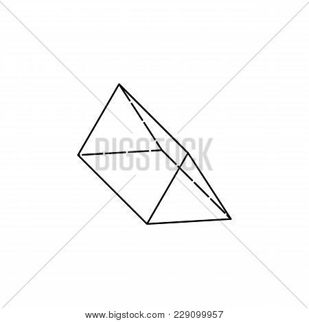 Triangular Prism Icon. Geometric Figure Element For Mobile Concept And Web Apps. Thin Line  Icon For