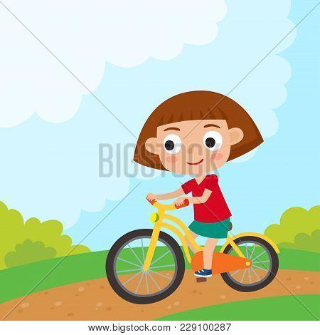 Cartoon Girl Riding A Bike Having Fun Riding Bicycles In Park. Happy Kid Having Fun On Weekend. Summ