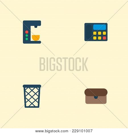 Set Of Office Icons Flat Style Symbols With Wastebasket, Briefcase, Telephone And Other Icons For Yo