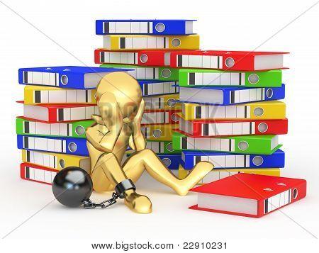 Clerk In Archive. Men With Folders.