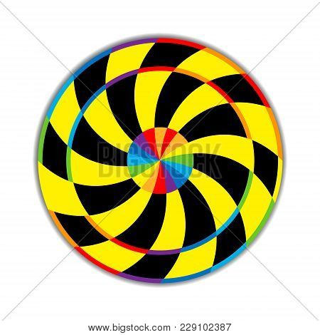 Vector Illustration Of A Circle Consisting Of Sectors Spirally Twisted In Black, Yellow And All Colo