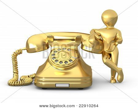 Contact Us. Man With Phone. 3D