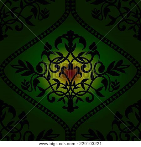 Royal Barocco Seamless Pattern On Green Background