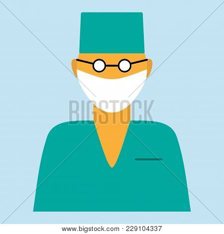 Vector Flat Medical Icon Or Logo With Male Doctor Surgeon.