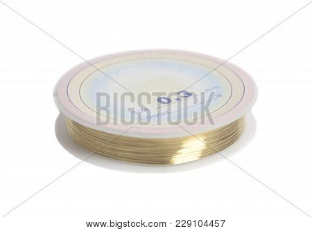 Copper Wire On Spool Size 0, 3 Mm On A White Background