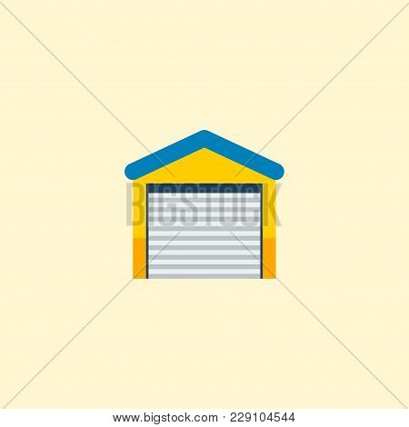 Garage Icon Flat Element.  Illustration Of Garage Icon Flat Isolated On Clean Background For Your We