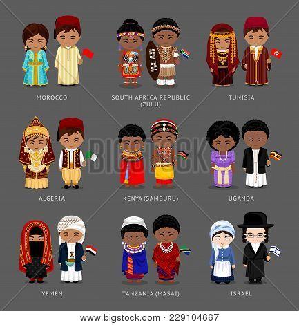 People In National Dress. Morocco, Tunisia, Kenya (samburu), Tanzania (masai), South Africa (zulu),