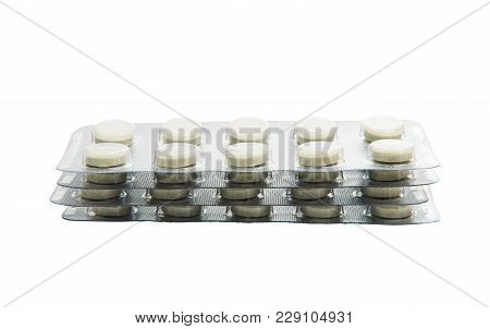 Medicine Pills In An Unused Blister Pack, Isolated On White Background.