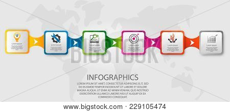 Modern Vector Illustration 3D. Template Infographics With Six Elements Rectangles. Designed For Busi