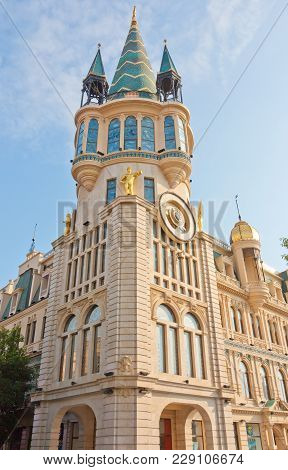Batumi, Georgia- August 14, 2014: Astronomical Clock On A Historic Building In The Center Of Batumi.