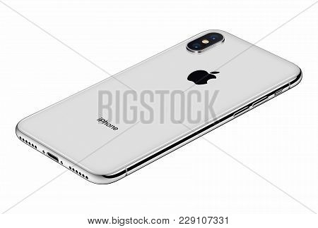 Varna, Bulgaria - January 23, 2018: Perspective View Silver Apple Iphone X 10 Back Side Isolated On