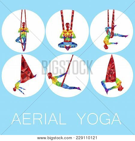 Aerial Yoga Icons With Woman Silhouette In Different Yoga Poses. Girl Doing Anti Gravity Yoga Exerci