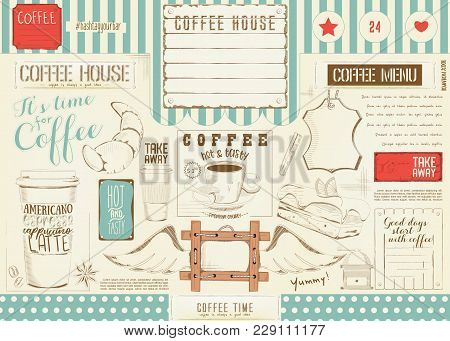 Coffee Menu Placemat Design. Colorful Template For Coffee Shop, Coffee House And Cafe. Retro Style O