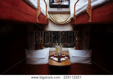 Russia, Spring 2015: Interior Of A Coupe In A Passenger Train Moscow - St. Petersburg
