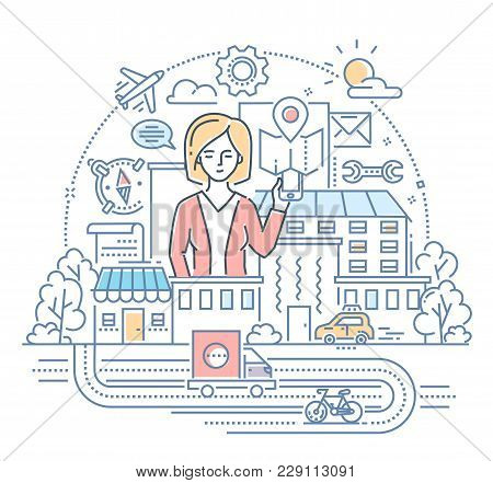 Businesswoman - Modern Color Line Design Style Illustration On White Background. Cute Female Charact