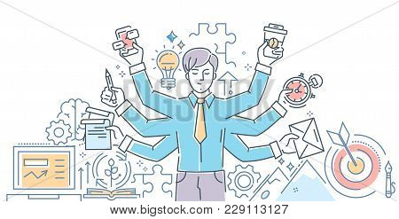 Creative Process - Modern Line Design Style Illustration On White Background. Banner Header For Your