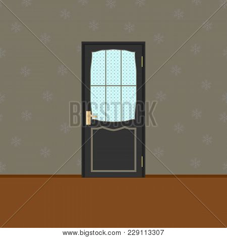 Vector Wood Closed Door With Frame Isolated On Snowflake Seamless Background