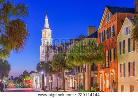 Charleston, South Carolina, USA cityscape in the historic French Quarter.