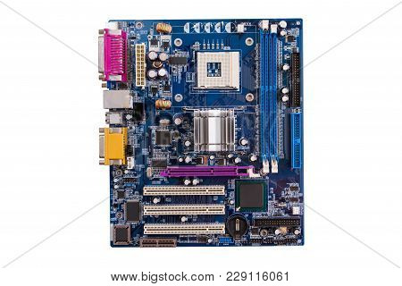 Computer Motherboard Isolated On White Background. Circuit Board