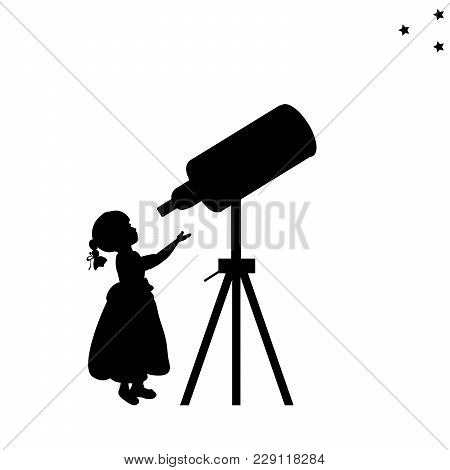 Silhouette Girl Looks Into Space Telescope. Vector Illustration