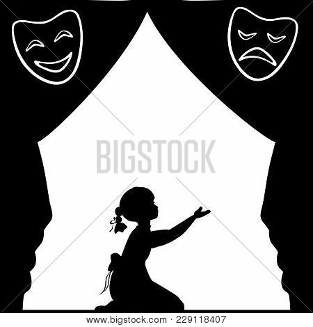 Silhouette Girl Plays The Stage. World Theatre Day. Vector Illustration