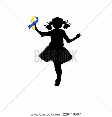 Silhouette Girl With Yellow Blue Ribbon. World Down Syndrome Day. Vector Illustration