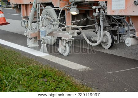 Ground Markings Are Renewed For Safety Reasons - Close-up Of Road Rehabilitation