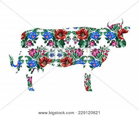 Silhouette Of Cow With Color Bouquet Of Wildflowers (lilia, Bellflower, Barberry Flower And Cornflow