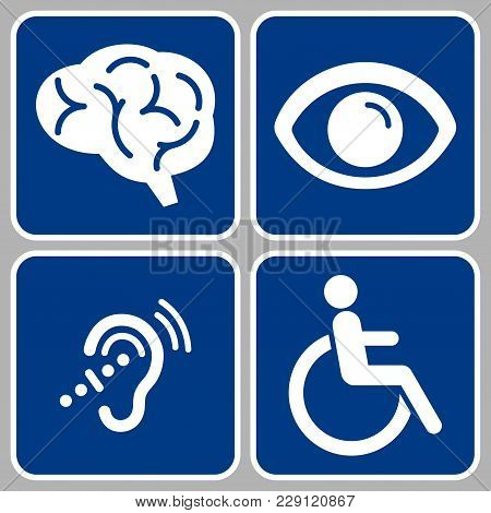 Disabled Icons Set, Blue Disability Symbols, Disable Signs