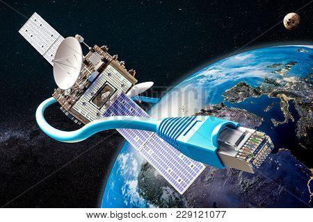 Global Satellite Internet Service Concept, 3d Rendering