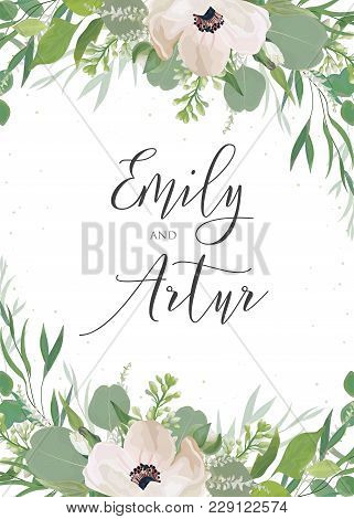 Wedding Invitation, Invite, Save The Date Card Design With Light Pink Anemone Flowers, Eucalyptus Le