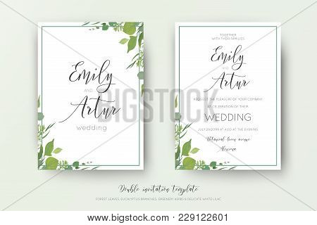 Wedding Floral Watercolor Style Double Invite, Save The Date Card Design. Forest Greenery Herbs, Lea