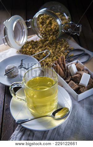Hot Chamomile Tea Made Of Wild Flowers