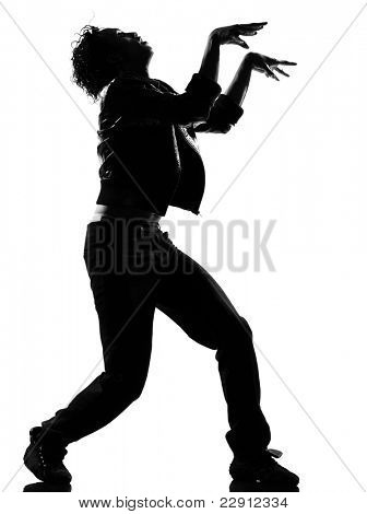 full length silhouette of a young man dancer dancing funky hip hop r&b on isolated studio white background poster