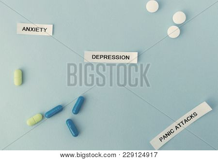Words Depression Anxiety Panic Attacks On Sticky Notes. Health, Mental Problems. Horizontal