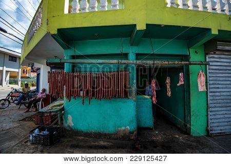 Santo Domingo, Dominican Republic - October 29, 2015: Entrance To Butcher's